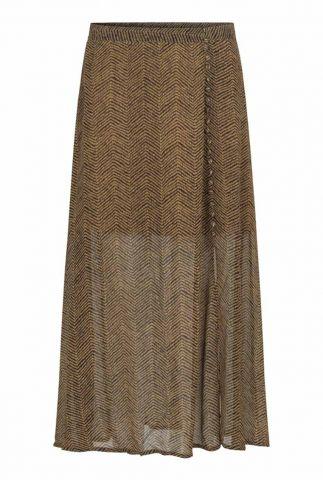 bruine maxi rok met zigzag print en knoop detail severine skirt