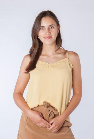gele mouwloze top met geborduurd dessin rafaela 58005