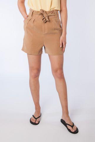 bruine high waist paperbag short met ceintuur marion 58140