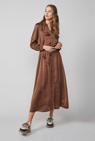 bruine satijnlook jurk met knoopsluiting 5s1193-11234