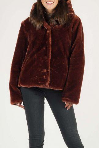 faux fur jas met capuchon en steekzakken 6513140