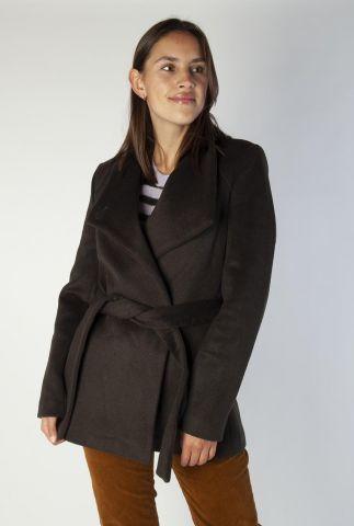 korte wolmix mantel jas met ceintuur 6518316