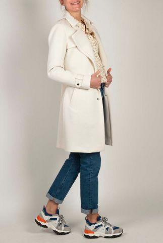 off-white trenchcoat jas gemaakt van een zachte scuba stof 6611912