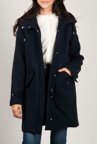donkerblauwe parka jas met capuchon 6611914