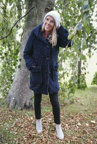 donker blauwe teddy jas met houtje-touwtje sluiting 6612133