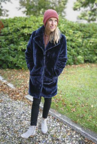 half lange faux fur jas met revers kraag en steekzakken 6613141