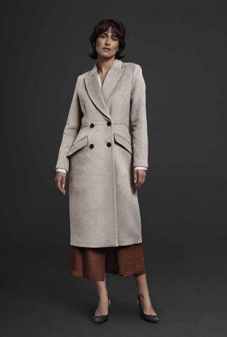 klassieke double-breasted jas van een zachte wolmix 6618313