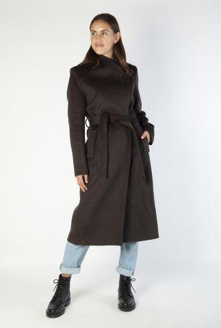 halflange wolmix mantel jas met ceintuur 6618320