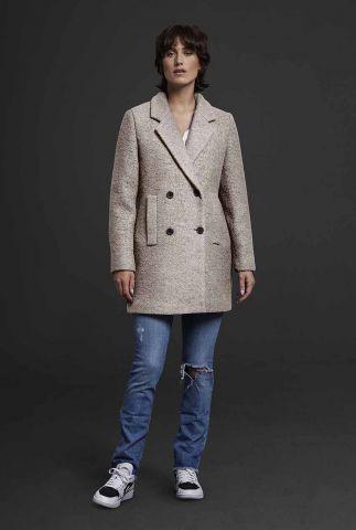 halflange mantel jas met zakken van een wolmix 6619341