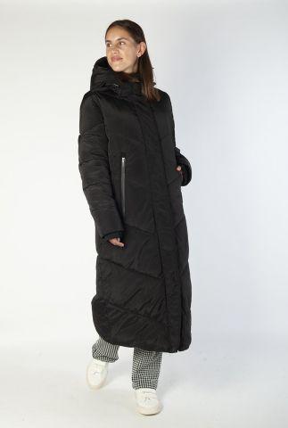zwarte lange gewatteerde jas met capuchon 6625331