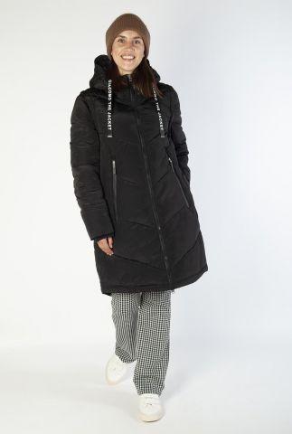 zwarte gewatteerde jas met capuchon 6625353