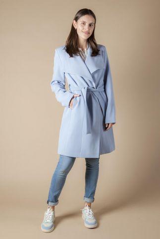 licht blauwe mantel jas met grote revers kraag en ceintuur 6638260