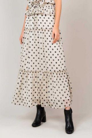 witte maxi rok met zwarte stippen print en ruches 6s1145-11170