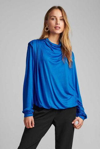 kobalt blauwe draperie top nubellezza blouse 700080