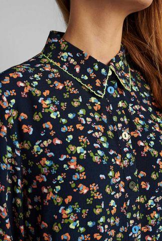 donker blauwe blouse met fijne bloemen print nudacey 700125