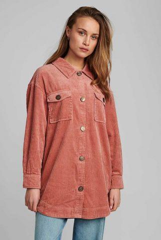half lange corduroy overhemd in oud roze 700176 nucalah