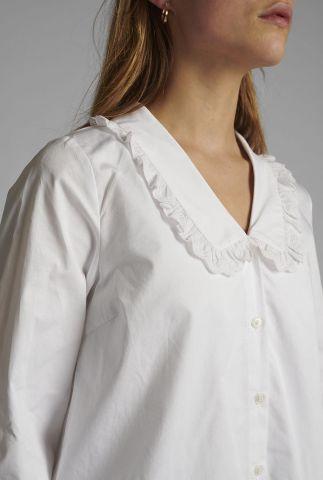 witte blouse met v-hals en broderie kraag nulacy shirt 700466