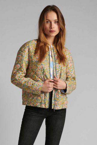 bomber jas met gekleurde bloemen print nufleur jacket 700470
