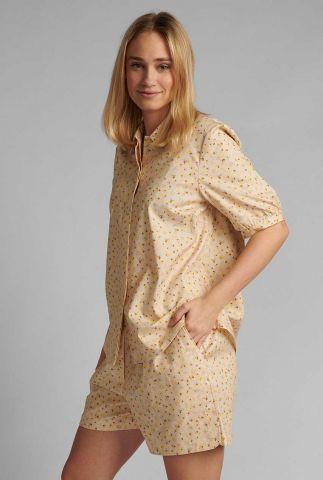 zandkleurige blouse met grafisch dessin nucharlie shirt 700486