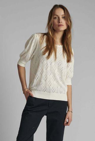 witte opengewerkte top nucharo pullover 700528