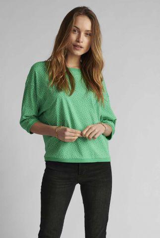 groene top met witte stippen print nubrigheid 700535