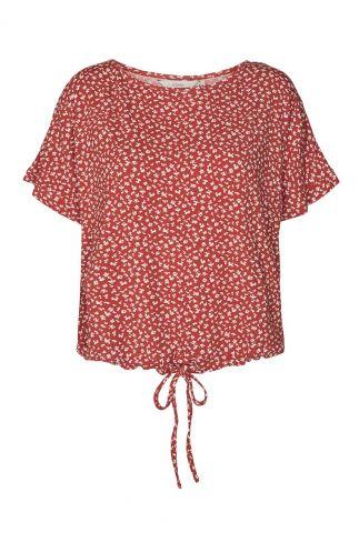 rode top met print en tunnelkoord nucarita blouse 700539