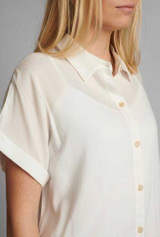 witte viscosemix blouse met korte mouw nucathy 700558