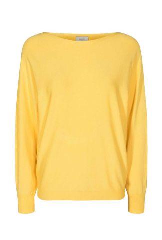 gele trui met boothals nudaya pullover 700565