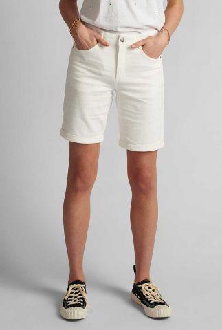 wit katoenen short met omslag florida shorts 700608