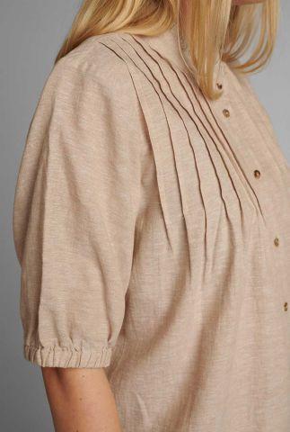 linnenmix blouse met plooi details nuboheme 700639