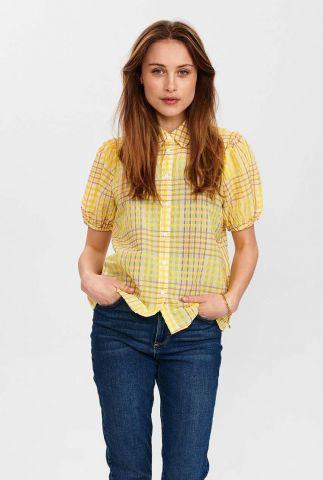 geel geruite blouse met pofmouw nuchelly 700640