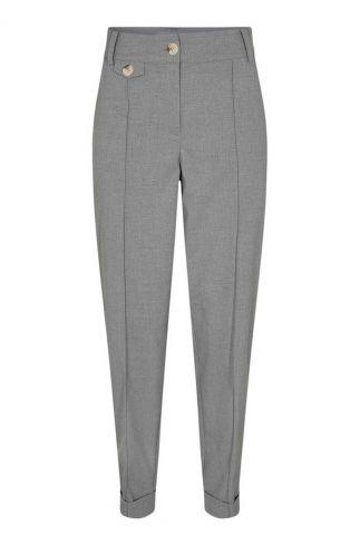 licht grijze broek met plooi details nucaro 700715