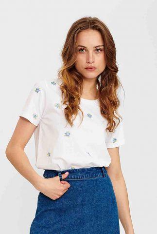 wit t-shirt met geborduurd bloemen dessin nucylia 700770