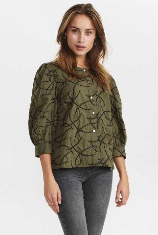 donker groene blouse met geborduurde details nuclelia shirt 700874