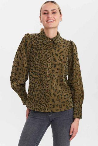 donkergroene luipaard blouse met pofmouwen nuchelsea shirt 700909