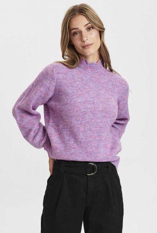 lila gebreide trui met geschulpte kraag nucarlotta pullover 700923