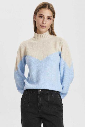 wit met lichtblauw gebreide trui van wolmix nucalypso pullover 700931