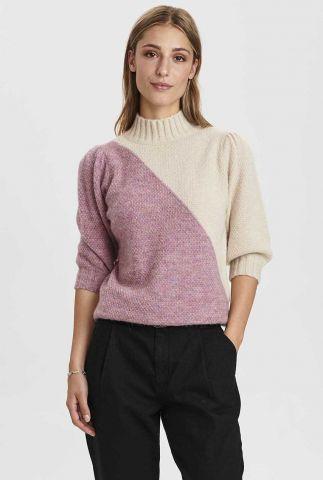 twee kleurige trui met 3/4 pofmouwen nucalypso pullover 700932