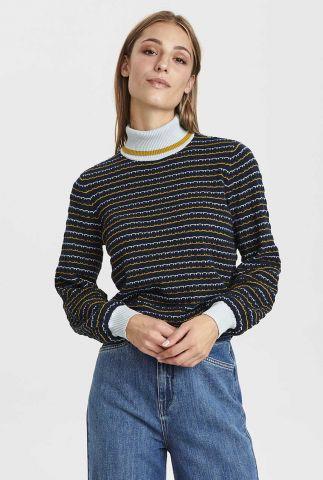 donker blauwe trui met ingebreid patroon nucarleigh pullover 700949