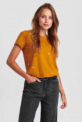 katoenen t-shirt met geborduurde blaadjes nubelise tee 700981