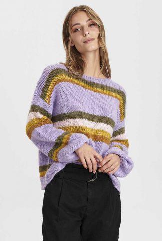 lila trui met ingebreide gekleurde strepen nucharon pullover 700990