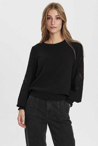 fijn gebreide zwarte trui met opengewerkte mouwen nucherilyn 700991
