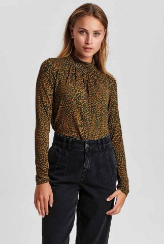 donkergroene col top met all-over dessin nubessie blouse 701003