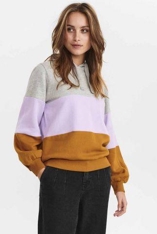 sweater met gekleurde vlakken en capuchon nucarol sweat 701008