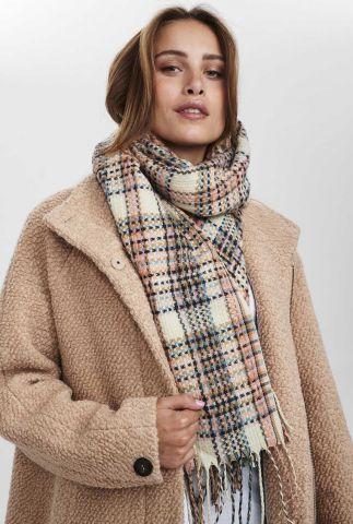 vrolijk geruite sjaal met franjes nujulius check scarf 701070