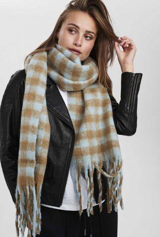 licht blauw met camel geruite sjaal nukitten check scarf 701077