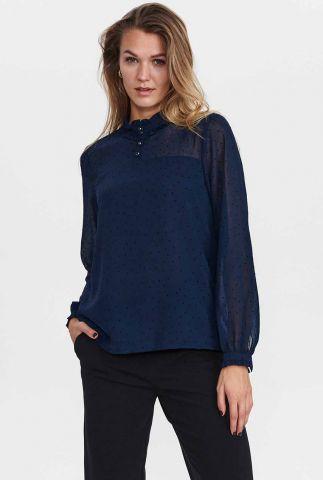 donkerblauwe top met velours stippen nucambrie shirt 701101