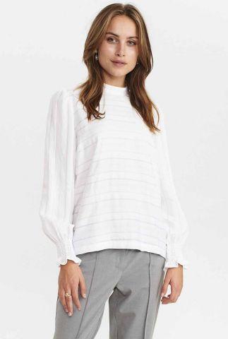 witte top met ingeweven strepen nuchesney blouse 701133