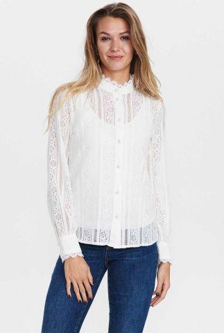 romantische katoenen blouse met kanten details nucorel shirt 701163