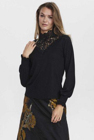 rib top met romantisch opengewerkte details nuantja blouse 701194
